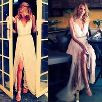 Beach Wedding Dresses Bridal Gown 2022 Boho V Neck Designer Side Slit Chiffon Sweep Train Crystals Custom Made Plus Size vestidos de novia