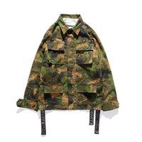 Ünlü Tasarımcı erkek Hoodies Gömlek Ceket Çok Cep Ok Baskı Şerit Sonbahar Kamuflaj Renk M-XXL Boyutu