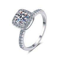 Anziw 925 Sterling Silver Moissanite Diamond 10ct Moda Classic Halo Anel de noivado para mulheres presentes de jóias