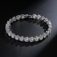 White&Rose Gold Filled Round Cut CZ Crystal Diamond Promise Cool Women Bracelet DFF3395