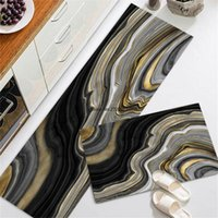 Carpets Luxury Black Marble Kitchen Mat Home Bedroom Carpet Area Decoration Bedside Floor