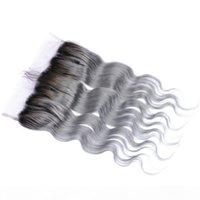 Cierre frontal del cordón del cabello humano de Omre Mongolian de Silver Grey con el pelo del pelo de la onda del cuerpo del pelo # 1b gris de dos tonos Ombre Full Lace Frontals 13x4