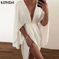Casual Dresses Women Summer Dress 2021 VONDA Sexy Deep V Neck Half Sleeve Office Bohemian Sundress Vestido Femme Robe