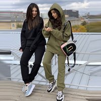 Women Tracksuit Pullovers Tops And Pants 2021 Autumn Winter Leisure Hoodies Set Solid Color Elastic Waist Long Trousers Outfits