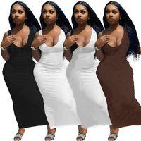Летнее платье для женщин Sexy Maxi Scoop шеи платья плюс размер жилет длинные панель элегантные юбки 2xL без рукавов сплошной цвет ночной клуб одежда DHL 5528