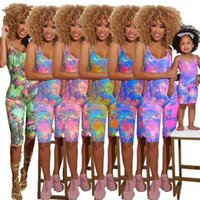Summer Mother Girl Family Sleeveless Jumpsuit Mom Daughter Romper Women Baby Girls Fashion Family Match Outfits Clothing 6 Colors H42811