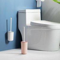 Colar sem rastreio Silicone WC Pincel Toilet Rodada Cabeça Flexível Cerdas macias com suporte de secagem rápida Conjunto de banho Bursh Accessory