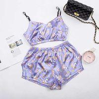 Sexy Sleepwear Unicorn Lovely Summer Pyjamas Women 2 Piece Set Casual Satin Pajamas Set Female Homewear Sleeveless Nightwear 210622
