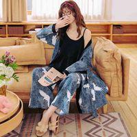 Damen Nachtwäsche Frauen Pyjamas 3 stücke Frühling Herbst Sexy Hosenturm Plus Größe Fett Lose Reine Baumwolle Übergröße Home Kleidung Japanischer Stil Kimono P9yn