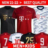 플레이어 버전 Bayern Jerseys 21 22 Lewandowski Sane Goretzka Munich Coman Muller Davies 축구 축구 셔츠 남성 + 키즈 키트 2021 2022 Humanrace 4 4