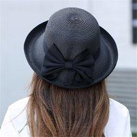 Chapeau de pêcheur Bowknot Chapeau de soleil pliable Femmes Beach Voyage Chapeau de paille Stevey Drame Chapeaux Fashion 73 N2