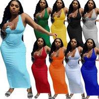 Bayan Bahar Ve Yaz Rahat Elbiseler Askı Yelek Derin V Yaka Ince Seksi Uzun Etek Boyutu S-2XL DHL