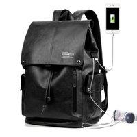حقيبة أزياء الرجال USB شحن اتصال تصميم حقيبة كمبيوتر محمول للإنسان الصلبة حقائب الكتف الذكور الكولاج مدرسة حقيبة 16 بوصة