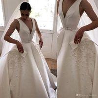 2020 Boho A 라인 웨딩 드레스 V 목 Backless Appliqued Satin Bridal Gowns 스윕 기차 Vestito Da Sposa 웨딩 드레스 사용자 정의