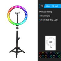 """10"""" RGB LED Ring Light Selfie Photographic Lighting Colorful Ring Lamp Dimmable with Control Stand for TikTok Youtube Vlog Live"""