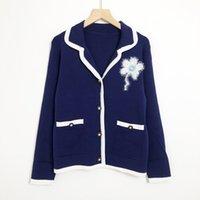 819 2021 Autumn Women Sweater Brand Same Style Sweaters Regular Long Sleeve Lapel Neck Blue Long Cardigan Gray Women Clothes niu