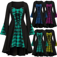 Casual Dresses Women Plus Size Dress Fashion Gothic Stitching Bandage Check Tie Halloween Long-sleeved Robe Women's Clothing Vestid S-5XL