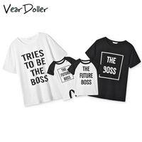Abiti di abbinamento della famiglia Veardoller Manica corta Lettera Stampa T-shirt in cotone Abbigliamento per bambini Abbigliamento per bambini Dad Bamm figlio figlia usura