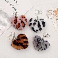 Leopard Print Plush Ball Keychain Pendant Heart Shaped Fashion Car Pendants Luggage Decoration Key Chain Creative Gift Keyring GWF7093