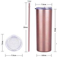 20oz skinny copos de sublimação de copo canecas com tampas coloridas palhas isoladas tumblers vácuo slim xícara de copo do mar HHE6035