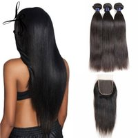 Cuerpo brasileño sin procesar ola Virgin Virgin Human Hair 3 paquetes con cierre de agua profunda Onda Remy Remy Extensiones de cabello y cierre de encaje