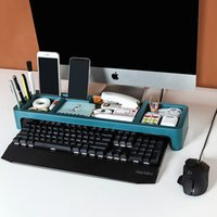 Çok Renkli Ofis Masası Organizatör Plastik Klavye Depolama Çekmece Telefon Sabit Raf Masaüstü Bilgisayar Temiz Keep Uzay Tasarrufu