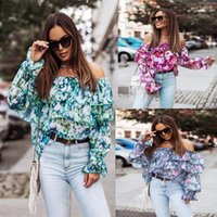 Women's Blouses & Shirts Blouse Print Patchwork Ruffles Slash Neck Shirt Clothing 2021 Casual Long Sleeve Blusas Y Camisas Femme Y2k Tops