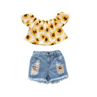 Clothing Sets Girls Outfits Baby Clothes Kids Suits Summer Cotton Short Sleeve Tops Blouses Denim Hole Shorts Jeans Pants 2Pcs 2-6Y B5431