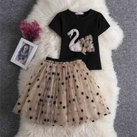 Wholesale Swan Star Girl Sets Baby Black Short Sleeve T-shirt+Gauze skirt 2PCS Outfits Suit Clothes 2-8Y E16311 210610