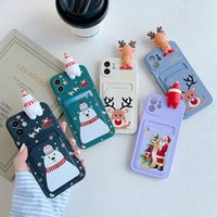 Noel Kart Kimlik Cep Kılıfları iPhone 12 Pro 11 XS MAX XR X 8 7 Artı Telefonu12 Yumuşak Silikon Merry Noel Hediyesi Noel Baba Sevimli 3D Şapka Kar Kardan Adam Geyik Arka Telefon Kapak