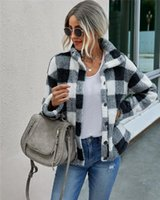 여자 격자 무늬 버튼 아래로 자켓 코트 가을 겨울 캐주얼 긴 소매 퍼지 플리스 스탠드 칼라 느슨한 포켓 코트 스트리트웨어 새로운