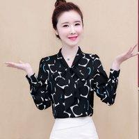 2021 Yeni Kore Moda Top Bahar Ve Sonbahar Kadın Şifon Gömlek Çok Yönlü Bluz