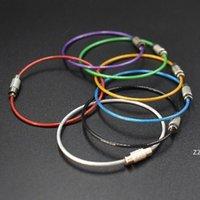 1000 PC / lotto Cavo in acciaio inox Portachiavi Keychain Cable Ring Ring Corda 7 colori Tubazione in gomma strumento di bloccaggio a vite HWE9706