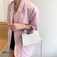 Solid Color PU Leather Women Small Square Shoulder Bag Vintage Crocodile Pattern Ladies Crossbody Bags Fashion Female Handbags Evening