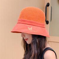 Bucket Hat Verano para mujer 2021 hueco bordado mariposa protector solar al aire libre sol playa sombrero