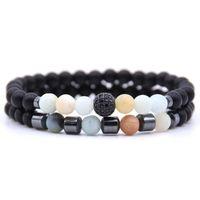Cuff 2Pcs Set Micro Pave CZ Disco Ball Natural Stone Beaded Bracelets & Bangles Drop Male Jewelry Fashion Gift For Mens Women