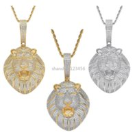 King 18k Gold Lion Necklace Jewelry Set Bling Diamond Cubic Zircon Animal Head Pendant Hip Hop Necklaces with Stainless Steel Chain for Women Men Will and Sandy