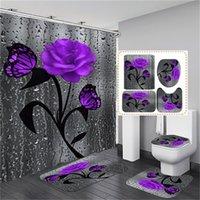 Цветочный коврик для ванны и душевой занавеской набор душевой занавес с крючками ванны коврики против заноса ванной комнаты ковер туалет для туалетной колодки для ванной коврик 1229 V2