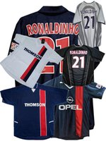 레트로 클래식 축구 유니폼 2001 2002 2003 파리 오코 샤 arteta heinze anelka pochettino aloisio llacer Ronaldinho 01/02/03 홈 축구 셔츠