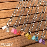 Chains Y2K Colorful Gummy Bear Zircon Pendant Necklace For Women Resin Bears Gold Silver Color Heart Beads Chain Necklaces Jewelry