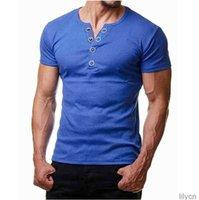Mens Designer Casual T Shirt Slim Fit Solid Color Summer Short Sleeve Fashion Homme Clothing