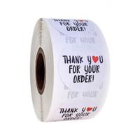 500 pezzi / rotolo cuore grazie adesivi fatti a mano Adesivo bianco Grazie per il tuo ordine adesivi di tenuta per lo shopping piccolo negozio