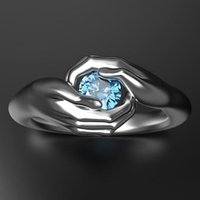 Women Embracing Hands Engagement Wedding Rings Trending Fashion Accessories Silver Color Blue Zircon Finger Cluster Gifts Party Jewelry