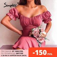 Simplee Eleganter, massiver V-Ausschnitt Sommer Frauen Kleid 2021 Kurzarm Bodycon Strandkleider Hohe Taille A-Line Damen Party Vestidos