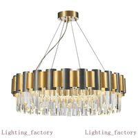 LED E14 Modern Stainless Steel Crystal Hanging Lamps Gold Pendant Lights Chandelier For Villas Living Room Hotel Lobby Dinning Room Foyer