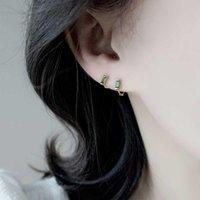 Hoop & Huggie XiaoboACC Green Zircon Earrings For Women 2021 Trend Fashion Ear Hoops Jewelry