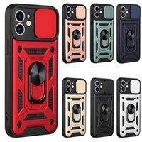 Sliding Window Phone Cases Armor Magnetic Kickstand Back Cover 360 Degree Finger Holder Protector for iPhone 12 pro max mini 11 Xs XR 7 8 plus Samsung S20 Ultra S21 A20S