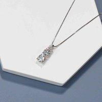 Boeycjr 925 الفضة f اللون أنيقة 3 مويسانيت vvs الاشتباك الزفاف قلادة قلادة للنساء هدية الذكرى