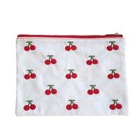 Ins toile Cherry broderie crayon sac cosmétique sac coréen kawaii sac de rangement concis mignon cadeau papeterie
