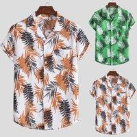 Homme à manches courtes manches décontractées à manches décontractées Hawaiian chemise Chemisier T-shirt Camiseta Masculina de Manga Curta Havaiana 2021 Chemises hommes